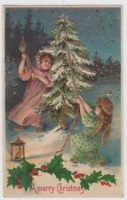 A Merry Christmas Girl Angel Tree Gold Gilt Postcard