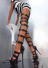 Women Super High Heels Gladiator Buckle Strap Thigh High Sandals Boots Clubwear