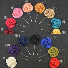 Lapel Rose Flower Handmade Boutonniere Stick Wedding Brooch Pin Corsage SMA