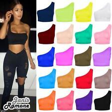 Womens One Shoulder Plain Sleeveless Sports Bra Bralet Summer Vest Tank Crop Top