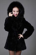 New Rabbit Fur Fox Collar  Women Coat Jacket Overcoat Garment Clothing Hood