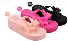 Women Ladies Bow Wedge Heel Sandal Slipper Flip Flop Beach Casual Jelly Platform