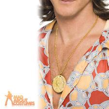70's Medallion Gold Metal Disco Fancy Dress Necklace
