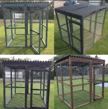 Covered Walk In Animal Run Brown Black Blue Pet Enclosure Dog Cat Rabbit Safe