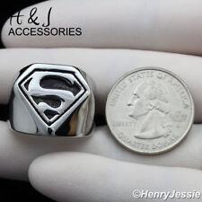 MEN Stainless Steel Black/Silver Superman Ring Size 8-13*AR121
