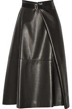 New THE ROW Black Ramnar Lambskin Leather Midi Skirt 6