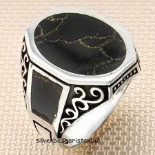 Good Handmade Onyx Black Stone 925 Sterling Silver Turkish Men Ring All Size Usa
