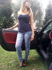 Pantaloni Donna Jeans Slim Skinny Strappato Taglia 44 L Large + Toppe Patch