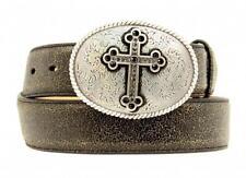 Nocona Western Womens Belt Leather Crystal Cross Black Crackle N3444201