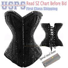 Black spiral steel boned Waist Training Overbust lace up corset Sexy bustier H2