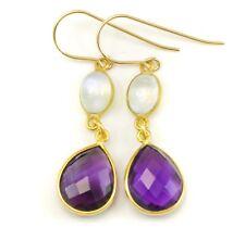 Purple Amethyst Earrings Facet Teardrop Blue Moonstone bezel Double Dangle 14k