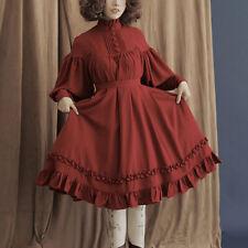 Girl Lolita Princess Dress Ruffle Solid Long Puff Sleeve Button Japan Preppy Cos