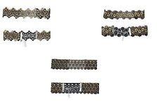 Black Crochet Choker Gold Metallic Retro Mod Style Lace Collar Choker Necklace