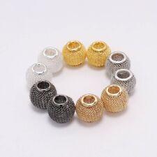 10pcs Metal Mesh Large Hole Loose Spacer Beads for DIY Bracelet Jewerlry Finding