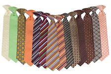 """Boys 14"""" Clip On Fashion Necktie Ivory Green Gold Orange Purple Red Blue Brown"""