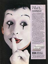 1986 HP Hewlett Packard QuietJet Printer with Mime Print Ad