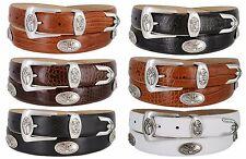 "BC3109  Mens Dress Golf Concho Belt Embossed Italian Calfskin Leather, 1-1/8"""