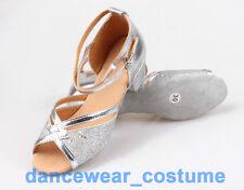 Neu Mädchen Pailletten Tango Latein Ballsaal Salsa Tanzschuhe Dance Heeled Shoes