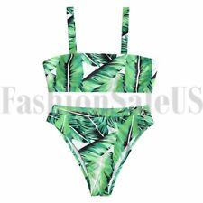 11ce36559fcb0 2pcs Women s Sexy Bikini Removable Pad Floral Wrap Padding Ribbed Swimwear  Set