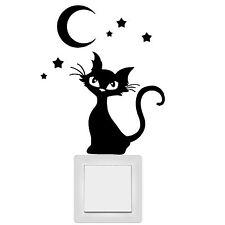 11088 Pegatina pared interruptor luz tomacorriente ADHESIVO Gato Luna Estrellas