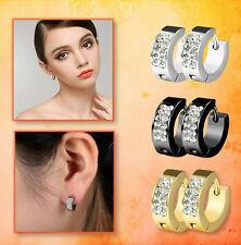 Titanium Steel Women Men's Hoop Earrings Huggie CZ Inlaid Round 14mm Piercings