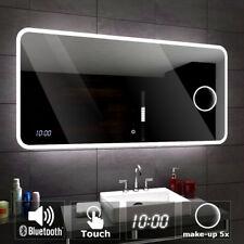 Osaka Badspiegel mit LED Beleuchtung Wandspiegel  BLUETOOTH, UHR, SCHALTER