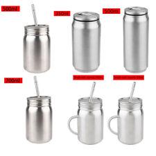 Unbreakable Stainless Steel Cup Water Bottle Thermal Mug Mason Jar w/Lid&Straw