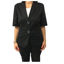 ELENA MIRÒ giacca donna sfoderata mezza manica nera 97% cotone 3%elastan