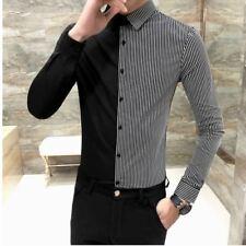 Uomo Camicia a righe abito raso seta casuale formale lavoro Business contrasto