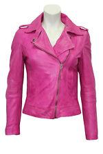Ladies Women's BRANDO Pink Fashion Biker Style Soft Leather Rock Jacket