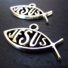 Jesus Fish Charms - Wholesale Christian Ichthys Pendants C4249 - 10, 20 Or 50PCs