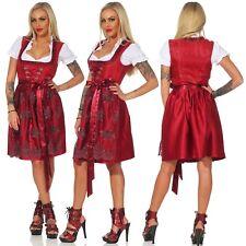 Trachten Damen Dirndl Set Gr. 34-46 Midi Trachtenkleid Dunkelrot Oktoberfest