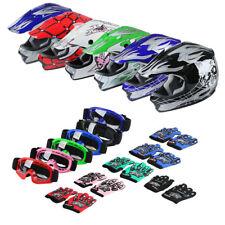 6 Colors S/M/L/XL DOT Youth Kids Dirt Bike ATV Helmet Motocross w/Goggles Gloves
