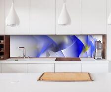 Aufkleber Küchenrückwand 3D Effekt abstrakte Kunst blau weiß Blume Folie 22A162