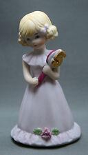 Growing Up Girls Age 5 Figurine Blonde Purple Gown Enesco 1981 Ellen Williams