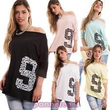 Maglia donna maglietta maniche 3/4 cotone teschietti numero nuova CC-1344