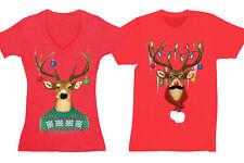 Reindeer Mustache Ugly Christmas Sweater Matching Couples Gift Men Women T-Shirt
