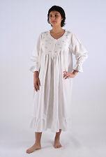 Amelia Ladies Pink Cotton Long Sleeve Embrodied Nightgown / Sleepwear / Nightie