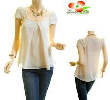Women Ivory Renaissance Victorian Lace Chiffon Pleated Peasant Blouse Shirt Top
