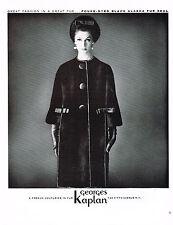 1960s Vintage Sixties Fashion GEORGES KAPLAN Seal Fur Coat Photo Print AD c