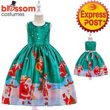 K698 Girls Green Sleeveless Santa Christmas Snowflake Party Kids Dress Up Xmas