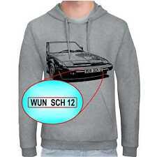 FIAT X1/9 Hoodie mit oder ohne Wunschbeschriftung auf Kennzeichen