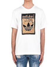 Men's New Adidas Orignals Trefoil Graphic Logo T-Shirt Top - White - Retro