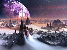 Alien World Purple Planet 3D Full Wall Mural Photo Wallpaper Home Decal Dec Kids