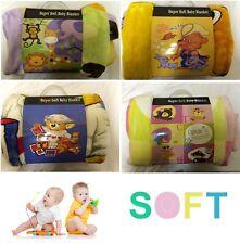 Manta de bebé visón Cobertor Doble Capa 100x140cm en amarillo rosa y verde azulado, Azul Morado