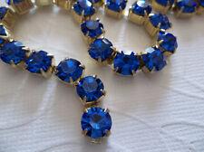6mm Sapphire Blue Rhinestone Chain - Brass Setting - 29SS Large Czech Crystals