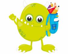 Monster mit Rucksack Aufkleber Sticker Autoaufkleber Scheibenaufkleber