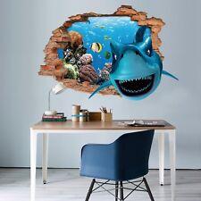 3D Squalo Blu Oceano 311 Parete Murales Parete Adesivi Decal Sfondamento IT