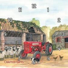 """Reloj De Pared Tractor internacional & ovejas por Sue podbery Hecho a Mano 19.6cm 8""""/11"""""""
