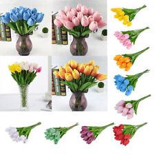 10Pcs Artificial PU Flower Bouquet Fake Tulip Xmas Bridal Wedding Party Decor